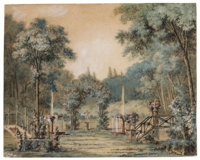 Charles-Dominique-Joseph Eisen, Garden with a Statue of Cupid