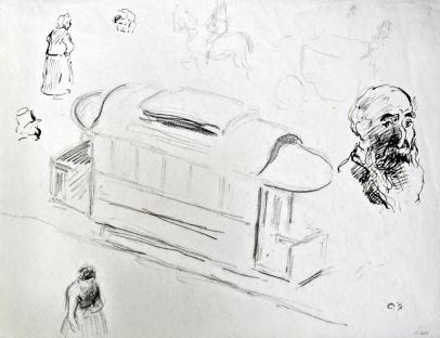 Preparatory drawing for Square in Rouen: Place de la République and Self Portrait