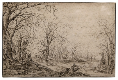 Flemish School, A Landscape with Wooden Houses