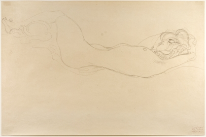 Gustav Klimt, Reclining Nude (Head Right)