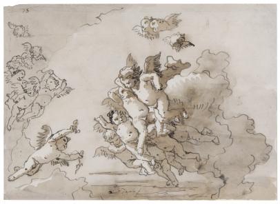Giovanni Domenico Tiepolo, Putti in the Clouds