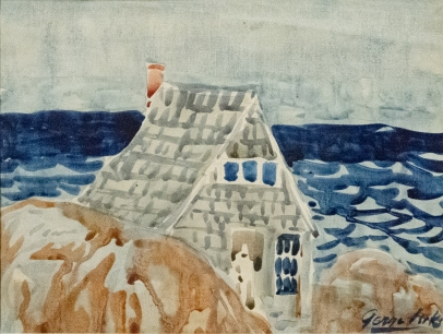 George Luks, House on the Edge of Sea