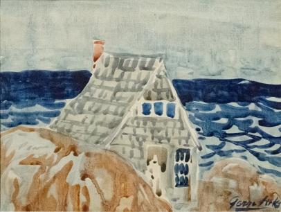 George Luks, House on the Edge of Sea