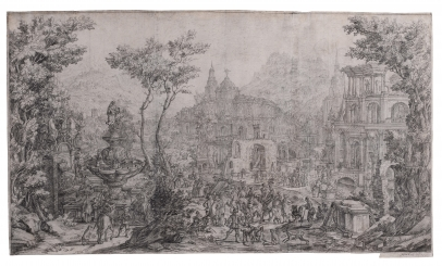 An Elaborate Landscape Capriccio with Figures by a Fountain, Palatial Buildings Behind