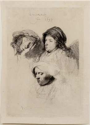 Rembrandt, Three Heads of Women, One Asleep