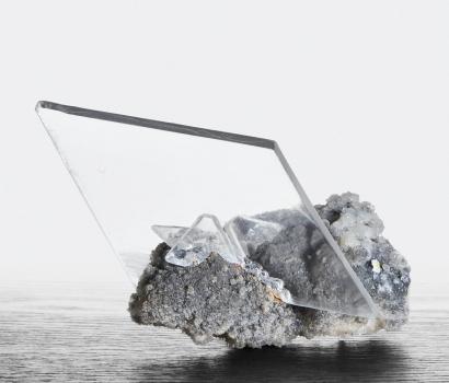 Selenite on Calcite Gibraltar Mine, Mexico