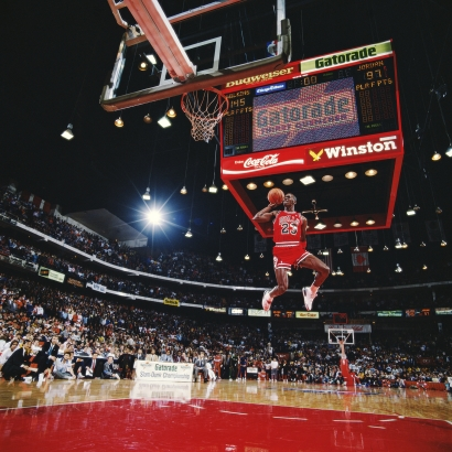 Walter Iooss, Jr. - The Slam Dunk, Michael Jordon, Chicago, IL, 1988  | Bruce Silverstein Gallery