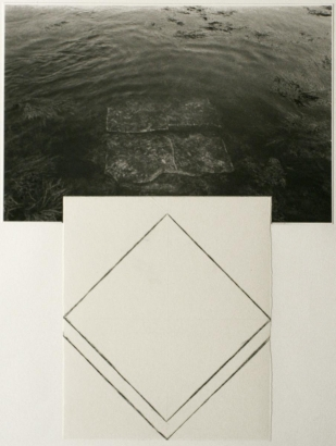 John Wood - Square Rock, Maine, 1981 Gelatin silver print and ink drawing mounted to paper | Bruce Silverstein Gallery