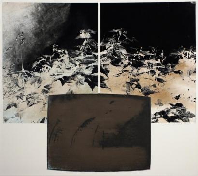 John Wood - TV Landscape Series - Nuclear Explosion, 1985 Gelatin silver print, collage | Bruce Silverstein Gallery