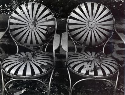 Edward Weston- Garden Chairs, Autumn, 1941 Gelatin silver print mounted to board, printed c. 1941   Bruce Silverstein Gallery