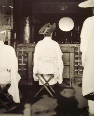 Werner Bischof - Pilgrim before the Altar of Kyomizu Temple, Japan, 1951 Gelatin silver exhibition print mounted to masonite   Bruce Silverstein Gallery