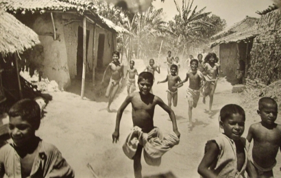 Werner Bischof - Bihar, India (Famine in India, Food arrives at a village), 1951 Gelatin silver exhibition print mounted to masonite   Bruce Silverstein Gallery