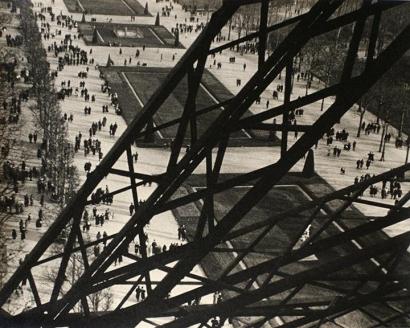 Ilse Bing - Tour Eiffel, Paris, 1931 Gelatin silver print mounted to original scrap board, printed c. 1931 | Bruce Silverstein Gallery