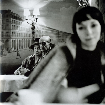 Frank Paulin - Old Couple and Young Woman at Cafe, 1961 Gelatin silver print, printed c. 1970s   Bruce Silverstein Gallery