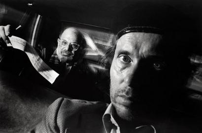 Ryan Weideman - Self-Portrait with Passenger Allen Ginsberg, 1990 Gelatin silver print 16 x 20 in. (40.64 x 50.8 cm) ; Bruce Silverstein Gallery