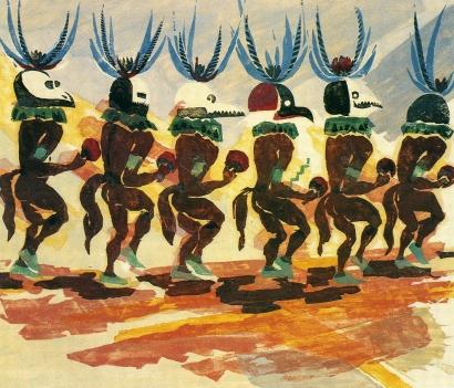 Barbara Morgan - Rain Dancers, 1931 Colored woodcut | Bruce Silverstein Gallery