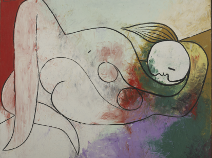 this is a cropped image of the painting by Pablo Picasso titled Woman lying has a fair wick (blond hair) painted in 1932, it represents his muse, Femme couchée à la mèche blonde is one of Picasso's most monumental depictions of his muse Marie-Thérèse Walter laying down, naked, and is one of only a few canvases of this large format executed in 1932.