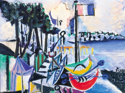 This is an image of Picasso's painting, Paysage, Juan les Pins, 13 August 1937, 1937. Picasso painted the sea shore in France at Juan les Pins, featuring four canoes boats, Summer tents, trees and a French flag in the center.