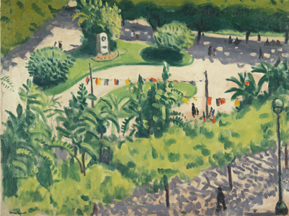 Albert Marquet, Le Square aux Drapeaux, Alger, oil on canvas, 46 x 61 cm. (18 1/8 x 24 in.) This image shows a garden in Algiers, with a lot of colorful flags hung.