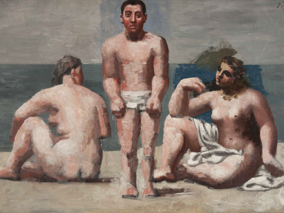 this is a painting by Picasso titled baigneurs et baigneuses, it represents a beach and three bathers. A woman on the left seated and naked a standing man in the middle in white clothe bathing suit and on the right another seated woman half nude. We can perceive the ocean in the background. They are depicted in Picasso's Neo-classical style.