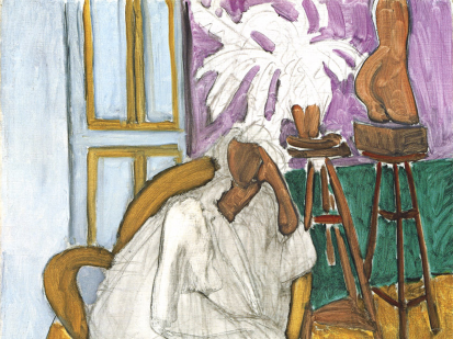 "This is a cropped image of Henri Matisse's painting titled ""Figure assise et le torse grec (la gandoura)"" produced in 1939. It abstractely depicts a woman seating on a chair looking thoughtful. The painting seems unfinished as her clothing is white and has not been colored while the rest of the background displays a rich palette of purple, green, yellow and brown."