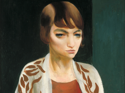 "This is a cropped image of Kisling's oil painting titled ""Portrait of Marita Hasenclever"" produced in 1927.  It depict a young woman with wide eyes short brown hair on a black and green background."