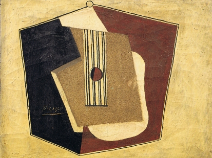 Picasso, Guitar, 1918.  This image represents a painting by Picasso which depicts a still life representing a guitar in a Cubist manner.  The main colors are yellow, dark red, black and ocre. The ocre part is actually real sand that have been used as a material to fill up the guitar.