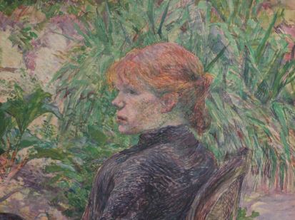 Henri de Toulouse-Lautrec, Femme Rousse Assise dans le Jardin de Mme. Forest, 1889. This is a cropped image of the oil painting by Henri de Toulkouse Lautrec. Which represents a young woman with red hair from profile seated on a chair in a garden.