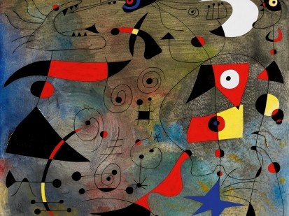 Femme et oiseaux is the eighth from a series of twenty-three extraordinary works collectively known as Constellations which Miró created between January 1940 and September 1941 and which are now widely considered as the masterpieces of his prolific œuvre. Writing to his New York dealer Pierre Matisse on 4th February 1940 about this group of works Miró confided: 'I am now working on a series of 15 to 20 paintings in tempera and oil, dimensions 38 x 46, which has become very important. I feel that it is one of the most important things I have done, and even though the formats are small, they give the impression of large frescoes. With this series... you could do a very, very fine exhibition. I am planning to work on these paintings, using a very elaborate technique, for about 3 months - making allowance for the fact that fortunately, they will lead me to conceive of other works which I will prepare at the same time.... With the series of 38 x 46 canvases [sic.] I am working on now, I can't even send you the finished ones, since I must have them all in front of me the whole time - to maintain the momentum and the mental state I need in order to do the entire group'