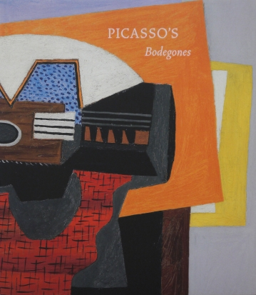 Image of the front cover of the book Picasso Bodegones which features a segment of PIcasso's painting, Guitare sur un Tapis Rouge (Guitar on a Red Carpet), 1922.