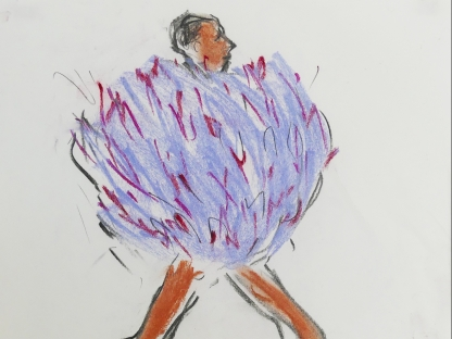 Drawing of woman in feather dress by Richard Haines