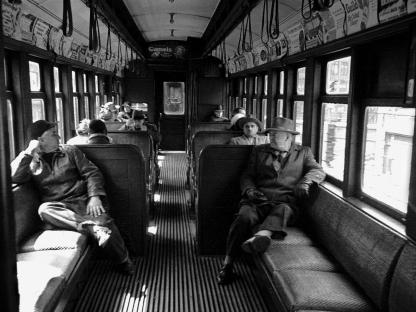 Inside train car by Vivian Cherry
