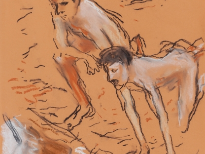 Men on beach by Richard Haines