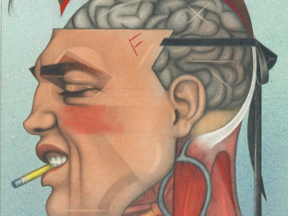 Drawing of brain by Mel Odom