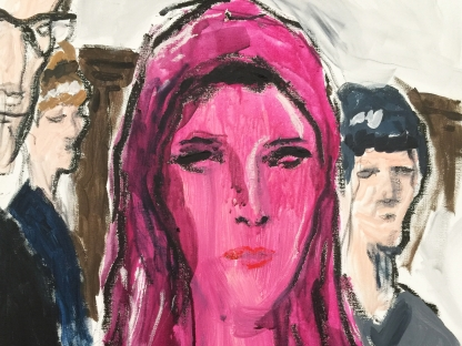 Painting of woman in veil by Richard Haines