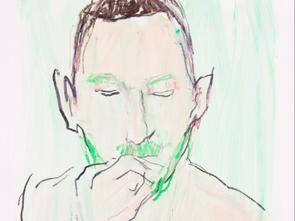 Drawing of man with green beard by Richard Haines