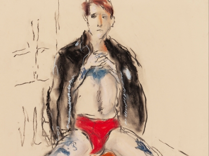 Man in red underwear by Richard Haines