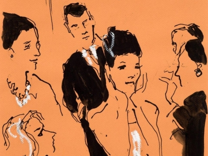 Drawing of party by Richard Haines