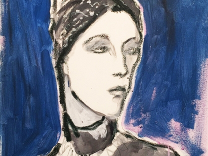 Painting of woman in head scarf by Richard Haines