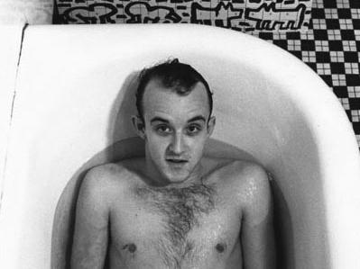 Keith Haring in bathtub by Don Herron
