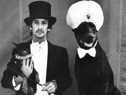 Man and two dogs by Arlene Gottfried