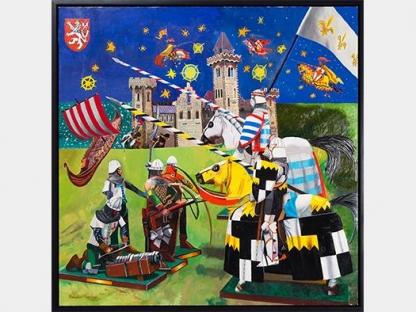 colorful medieval jousting scene