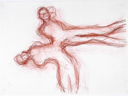 two conjoined sketched red figures