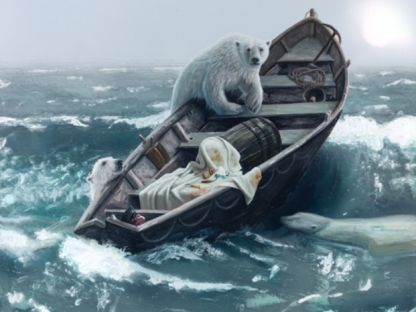 three Polar Bears climb onto a wooden lifeboat at sea