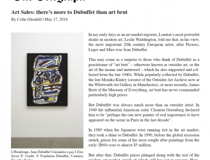 "The Telegraph, ""Art Sales: there's more to Dubuffet than art brut"""
