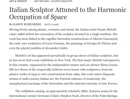 """Photograph of """"Italian Sculpture Attuned to the Harmonic Occupation of Space"""""""