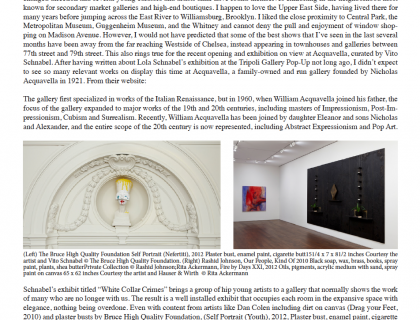 """Photograph of """"'White Collar Crimes,' curated by Vito Schnabel, Acquavella Gallery, NY"""""""
