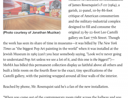 "Photograph of ""Leography: James Rosenquist at MoMA"""