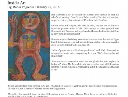 "The New York Times, ""For Jean Dubuffet, the Art Brut Founder, a Gallery Show Inside Art"""