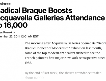 """Photograph of """"Radical Braque Boosts Acquavella Galleries Attendance to 16,000"""""""